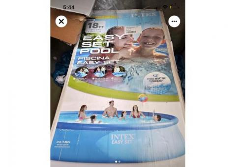"""18'x48"""" Intex Easy Set pool (New in opened box) with filter, pump, ladder, pool cover, ground cover"""