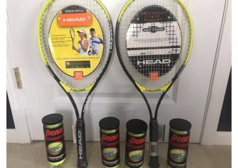 2 New HEAD tennis rackets and 4 containers of new balls
