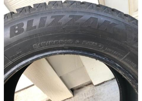 Blizzak studless snow tires 215/60 R16