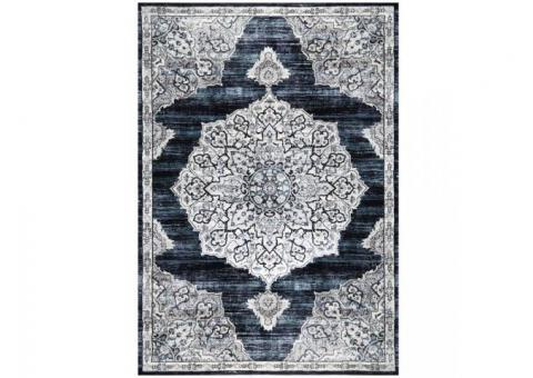BRAND NEW 8x10 Area Rug, Navy blue/White/Beige Pattern